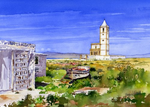 The church at the salt flats. My latest watercolour also available as a print