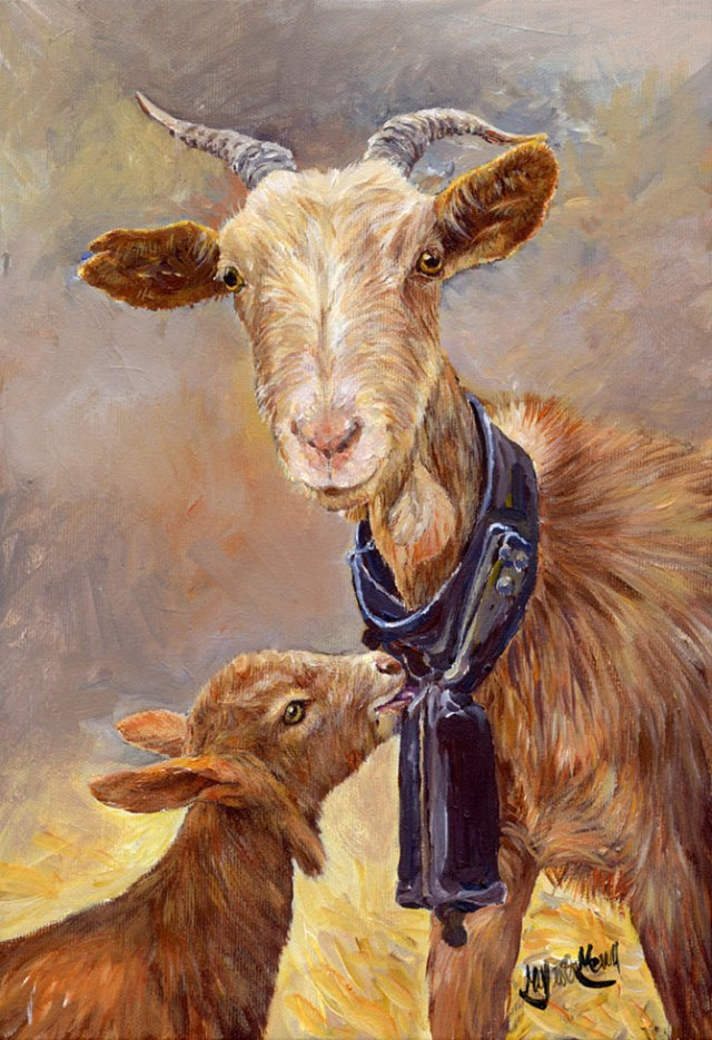 You can but this acrylic of a goat with her kid for just €90