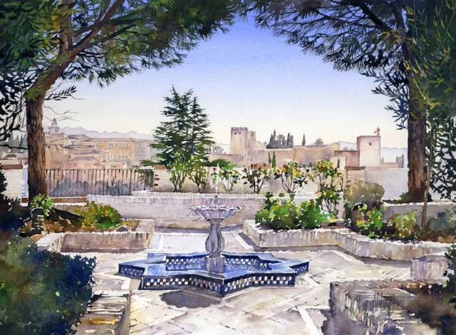 The Alhambra from the gardens of the Mosque
