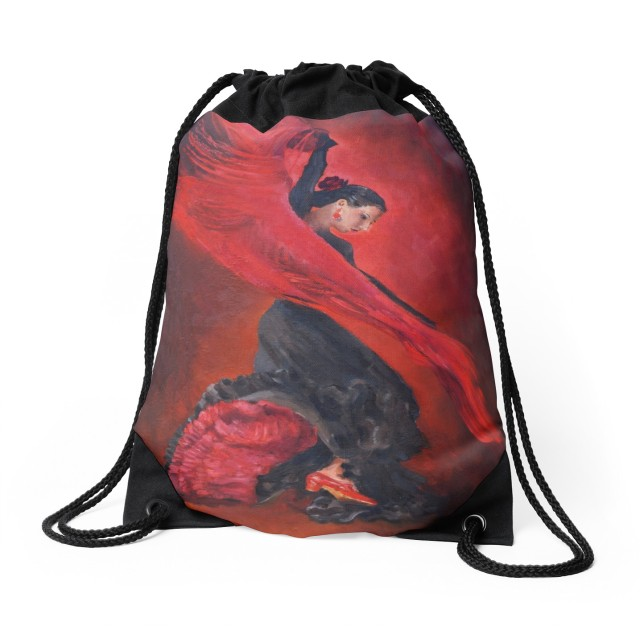 My oil painting of a flamenco dancer on a drawstring bag