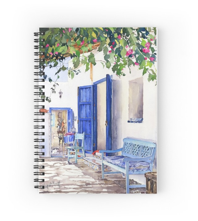 My watercolor, Blue Doors, on a spiral notebook