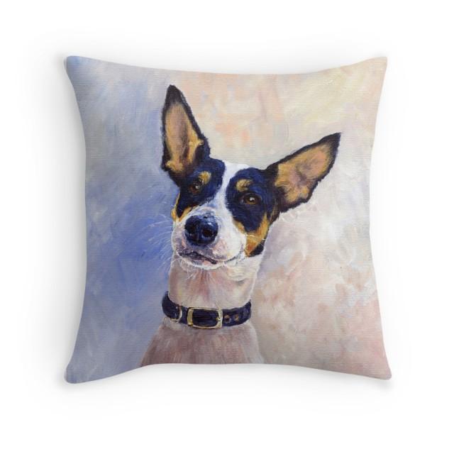 Acrylic painting of Daisy as a throw pillow